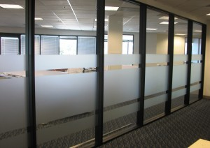 Custom-cut frost film for conference room