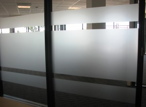 Etched glass vinyl on glass panel