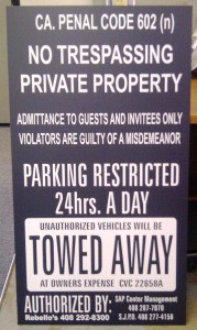 New Parking Sign For SAP Center Parking