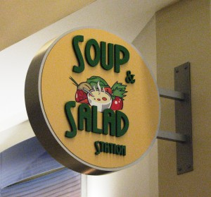 Blade sign with dimensional letters and full color graphics