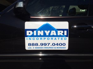 Magnetic sign on a car door