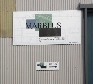 Building sign with aluminum substrate and full color graphics - Marblus Granite