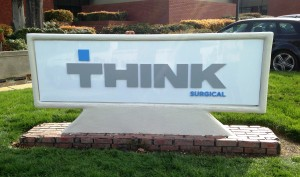 Custom cut and painted monument sign for Think Surgical