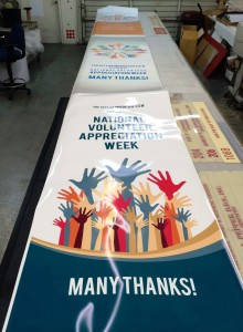 Posters Being Prepped for the City of Mountain View Volunteer Event