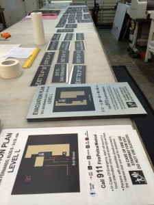 Signage in production process - Paseo Villas Apts