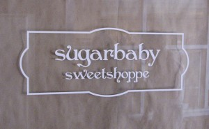 Window graphics for Sugar Baby Sweet shoppe