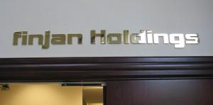 Brass letter sign - Finjan