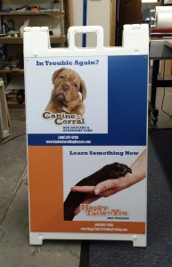 A-frame sign - Happy tails doggy daycare