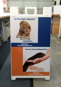 Sandwich board / A-frame sign - Happy tails doggy daycare
