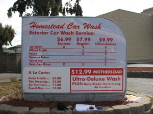 Old Menu - Homestead Car Wash