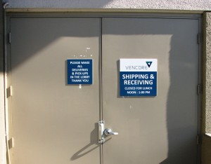 Shipping and Receiving Signs - Vencore