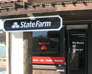 New sand blasted sign and window graphics for State Farm
