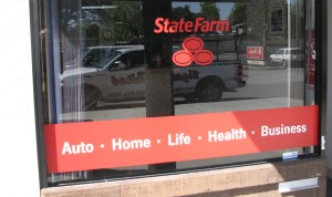 Window graphics with new logo - State Farm