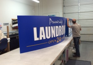 Illuminated Cabinet Sign in production