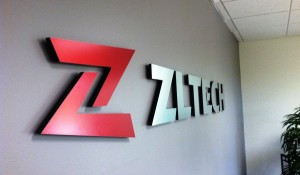 Custom Lobby Sign - Brushed Aluminum with red digital print finish - ZL Tech