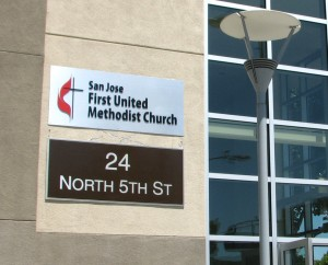 Building Letters On Brushed Aluminum Panel - San Jose First United Methodist Church