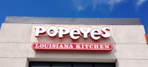 LED illuminated channel letters with tag line - Popeyes, San Jose
