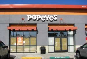 LED illuminated channel letters - Popeyes, San Jose