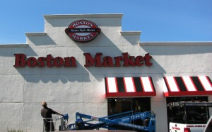 Installing new Boston Market Logo Signs