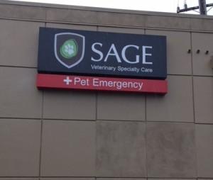 Exterior Illuminated Building Sign - Sage Veterinary